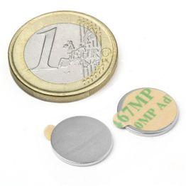S-13-01-STIC Disque magnétique autocollant Ø 13 mm, hauteur 1 mm, tient env. 710 g, néodyme, N35, nickelé