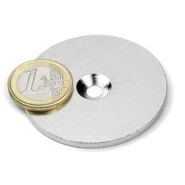 MD-52 Disco metallico con foro svasato Ø 52 mm, come controparte per i magneti, non è un magnete!