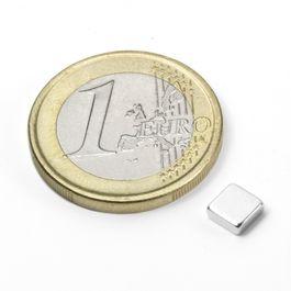 Q-05-05-02-N Blokmagneet 5 x 5 x 2 mm, neodymium, N45, vernikkeld