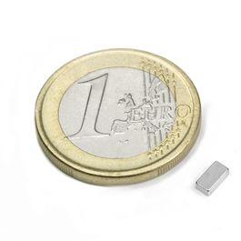 Q-05-2.5-1.5-HN Quadermagnet 5 x 2,5 x 1,5 mm, Neodym, 44H, vernickelt