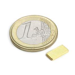 Q-10-05-01-G Blokmagneet 10 x 5 x 1 mm, neodymium, N50, verguld