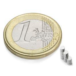 S-02-01-N Disc magnet Ø 2 mm, height 1 mm, neodymium, N48, nickel-plated