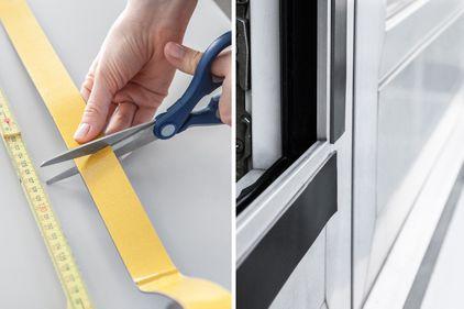 Se mide la cinta magnética adhesiva y se fija al marco de la ventana.