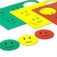 voor whiteboards & planborden, 6 smilies per A5-blad, Driedelige set: groen, geel, rood