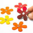 Bloemenmagneten in zomerkleuren, Set van 5 stuks