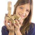 27 magnetische houten kubusjes, uit geolied eikenhout