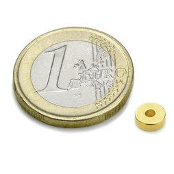 R-06-02-02-G, Ringmagneet Ø 6/2 mm, hoogte 2 mm, neodymium, N45, verguld