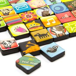 SALE-053, Icônes, aimants décoratifs carrés, lot de 4, dans différents designs