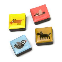 SALE-053/animals, Icons dieren, decoratiemagneten vierkant, set van 4, in diverse stijlen