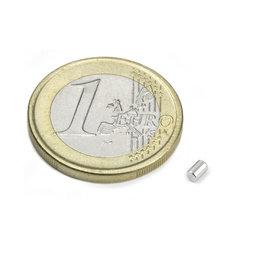 S-02-03-N, Staafmagneet Ø 2 mm, hoogte 3 mm, neodymium, N45, vernikkeld