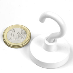 FTNW-32, Hook magnet white, Ø 32,3 mm, powder-coated, thread M5