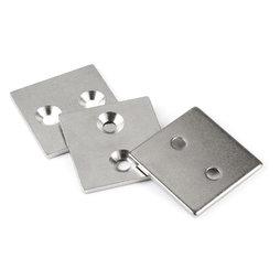 MC-40-40-03, Metalen plaatje met verzonken gat, 40x40x3 mm, als tegenstuk voor magneten, geen magneet!