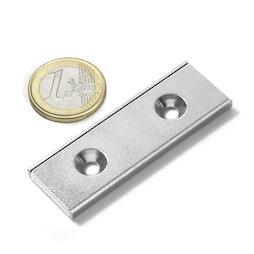 CSR-60-20-04-N, Neodymium stripmagneet 60 x 20 x 4 mm, met verzonken gat, in stalen u-profiel