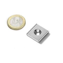 CSR-20-20-04-N, Imán plano 20 x 20 x 4 mm, con taladro avellanado, en perfil de acero en forma de U