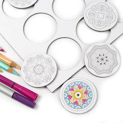 LIV-108, Mandala, aimants pour frigo à colorier, ronds, lot de 9