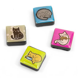 SALE-053/cats, Icons katten, decoratiemagneten vierkant, set van 4, in diverse stijlen