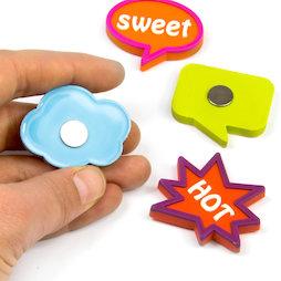 SALE-109, Expression Magnets Fancy, rubber gecoat, set van 4