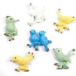SALE-103, Ornament Birds, koelkastmagneten in used look, set van 6