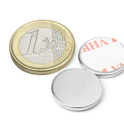 S-18-02-FOAM, Disc magnet self-adhesive Ø 18 mm, height 2 mm, neodymium, N35, nickel-plated