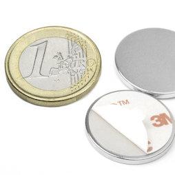 S-22-02-FOAM, Disc magnet self-adhesive Ø 22 mm, height 2 mm, neodymium, N35, nickel-plated
