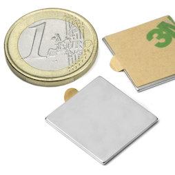 Q-20-20-01-STIC, Blokmagneet zelfklevend 20 x 20 x 1 mm, neodymium, N35, vernikkeld