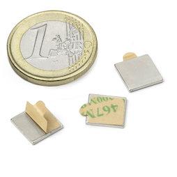 Q-10-10-01-STIC, Blokmagneet zelfklevend 10 x 10 x 1 mm, neodymium, N35, vernikkeld