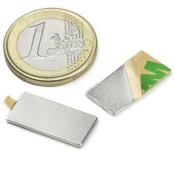 Q-20-10-01-STIC, Blokmagneet (zelfklevend) 20 x 10 x 1 mm, neodymium, N35, vernikkeld