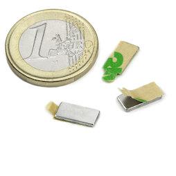 Q-10-05-01-STIC, Blokmagneet zelfklevend 10 x 5 x 1 mm, neodymium, N35, vernikkeld