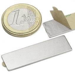 Q-40-12-01-STIC, Blokmagneet (zelfklevend) 40 x 12 x 1 mm, neodymium, N35, vernikkeld