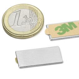 Q-25-12-01-STIC, Blokmagneet zelfklevend 25 x 12 x 1 mm, neodymium, N35, vernikkeld