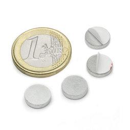 PAS-10, Metalen schijfje zelfklevend Ø 10 mm, als tegenstuk voor magneten, geen magneet!