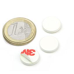 PAS-13-W, Metalen schijfje zelfklevend wit Ø 13 mm, als tegenstuk voor magneten, geen magneet!