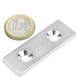 MC-60-20-03, Metalen plaatje met verzonken gat, 60x20x3 mm, als tegenstuk voor magneten, geen magneet!