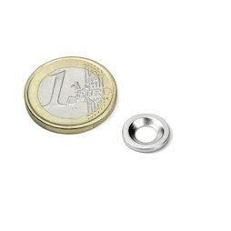 MD-12, Metalen schijfje met verzonken gat Ø 12 mm, als tegenstuk voor magneten, geen magneet!
