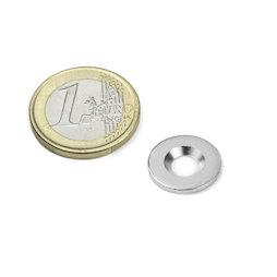 MD-15, Metalen schijfje met verzonken gat Ø 15 mm, als tegenstuk voor magneten, geen magneet!