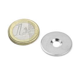MD-23, Metalen schijfje met verzonken gat Ø 23 mm, als tegenstuk voor magneten, geen magneet!
