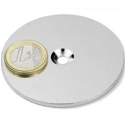 MD-65, Metalen schijf met verzonken gat Ø 65 mm, als tegenstuk voor magneten, geen magneet!