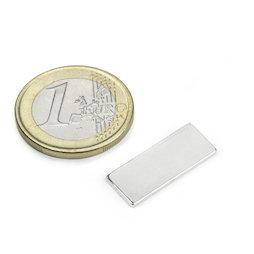 Q-22-8.5-1.4-SHN, Blokmagneet 22 x 8,5 x 1,4 mm, neodymium, 35SH, vernikkeld