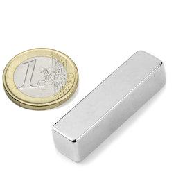 Q-40-10-10-N, Blokmagneet 40 x 10 x 10 mm, neodymium, N42, vernikkeld
