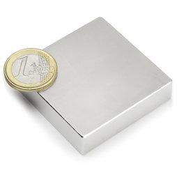 Q-50-50-12.5-N, Block magnet 50 x 50 x 12,5 mm, neodymium, N35, nickel-plated