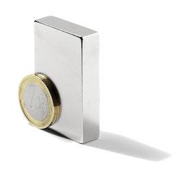 Q-50-25-10-LN, Blokmagneet 50 x 25 x 10 mm, neodymium, N40, vernikkeld