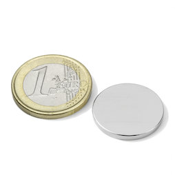 S-20-02-N52N, Disco magnetico Ø 20 mm, altezza 2 mm, neodimio, N52, nichelato