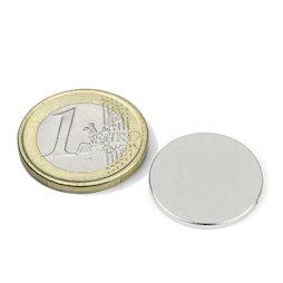 S-20-1.5-N, Disc magnet Ø 20 mm, height 1,5 mm, neodymium, N38, nickel-plated