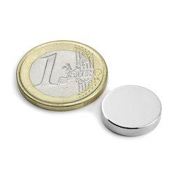 S-15-03-N, Disc magnet Ø 15 mm, height 3 mm, neodymium, N45, nickel-plated