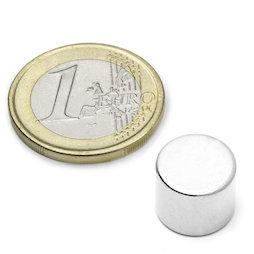 S-12-10-N, Disque magnétique Ø 12 mm, hauteur 10 mm, néodyme, N45, nickelé