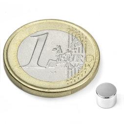 S-05-04-N, Disco magnetico Ø 5 mm, altezza 4 mm, neodimio, N45, nichelato