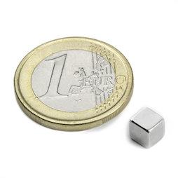 W-05-N, Kubusmagneet 5 mm, neodymium, N42, vernikkeld