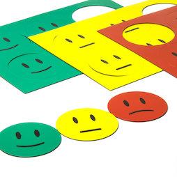 BA-016, Magnetische symbolen Smiley, voor whiteboards & planborden, 6 smilies per A5-blad, Driedelige set: groen, geel, rood