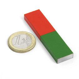 EDU-7, Staafmagneet rechthoekig kort, 60 x 15 mm, aus AlNiCo5, rood-groen gemoffeld