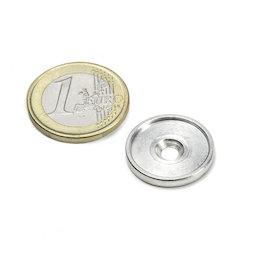 MSD-17, Metalen schijf met rand en verzonken schroefgat M3, Binnendiameter 17 mm, als tegenstuk voor magneten, geen magneet!
